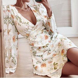 Boho floral wrap ruffle hem dress